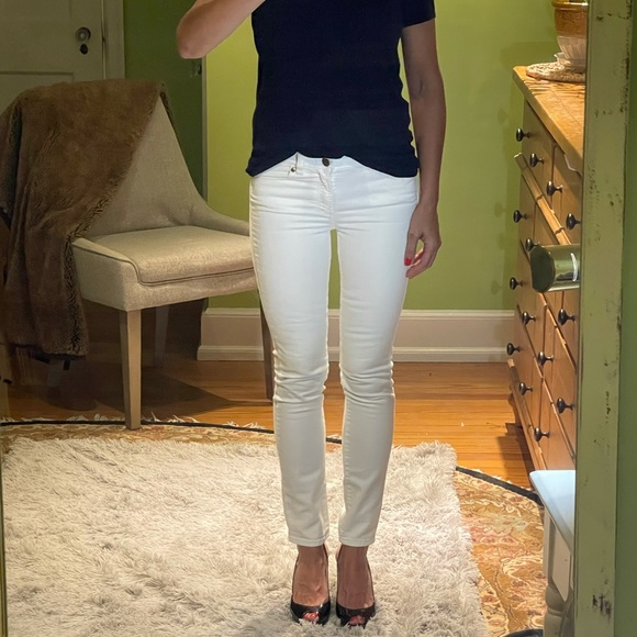 J.Crew Midrise Toothpick White Jeans Sz 26